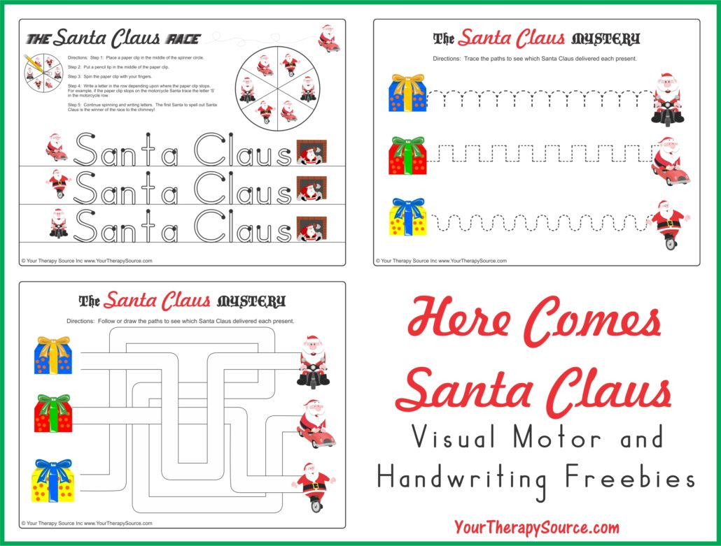 "Download ""Here Comes Santa Claus"" visual motor and handwriting freebies"