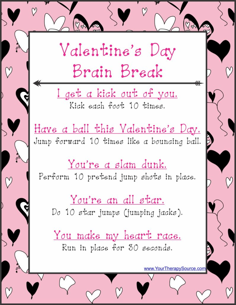 Free brain break for Valentine's day