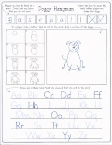 free doggy hangman and step by step drawing instructions