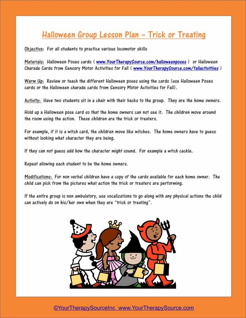 Halloween Group Lesson Plan Trick or Treating