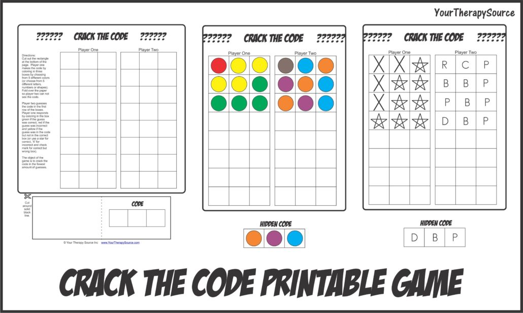 Crack the Code Printable Game