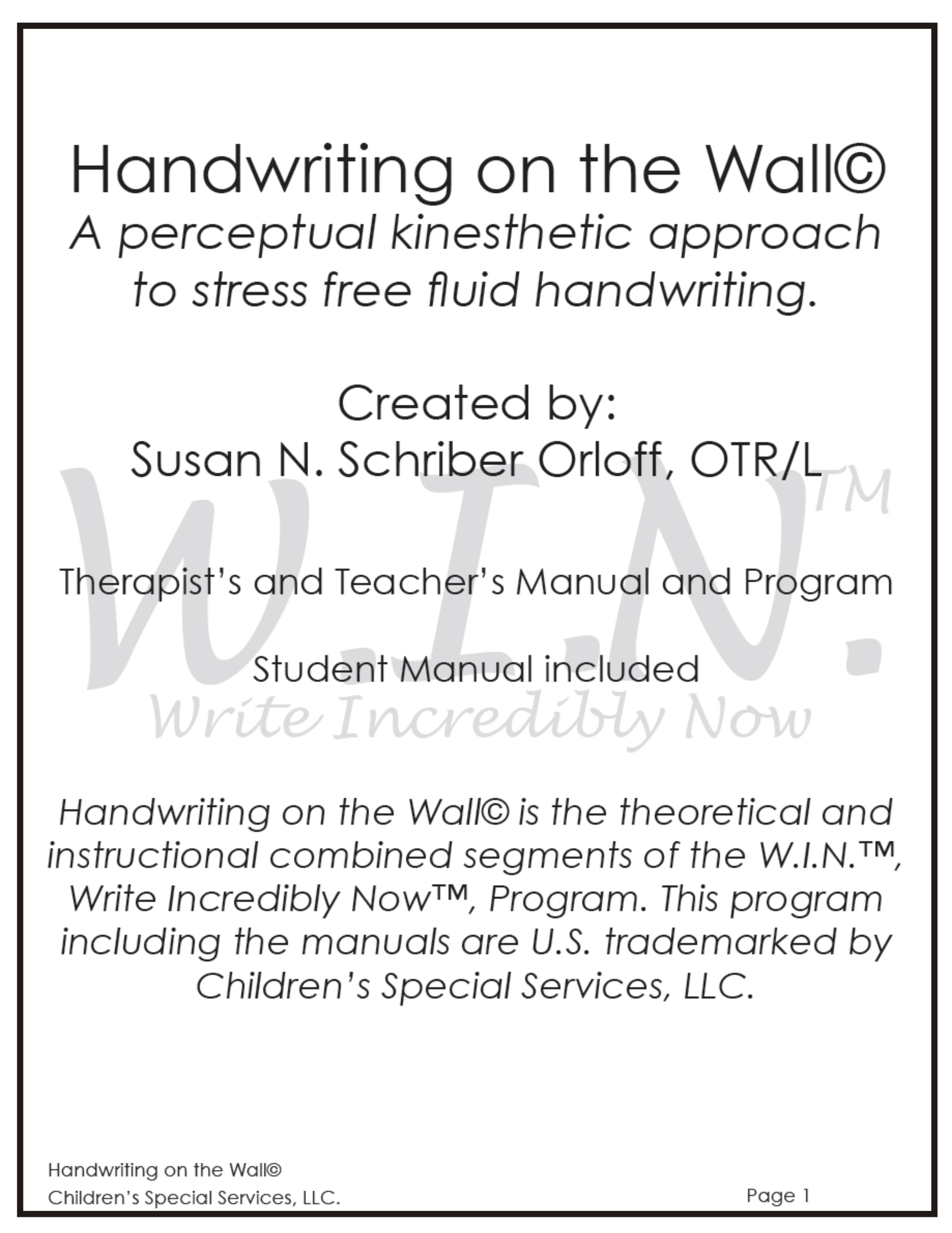 Handwriting On The Wall Win Handwriting Program Your Therapy Source