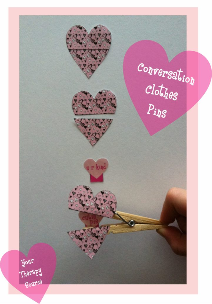 Conversation Heart Clothes Pins