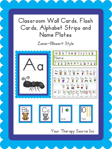 Classroom Wall Cards, Flash Cards, Alphabet Strips and Name Plates Handwriting without Tears® and/or Zaner-Bloser® Style