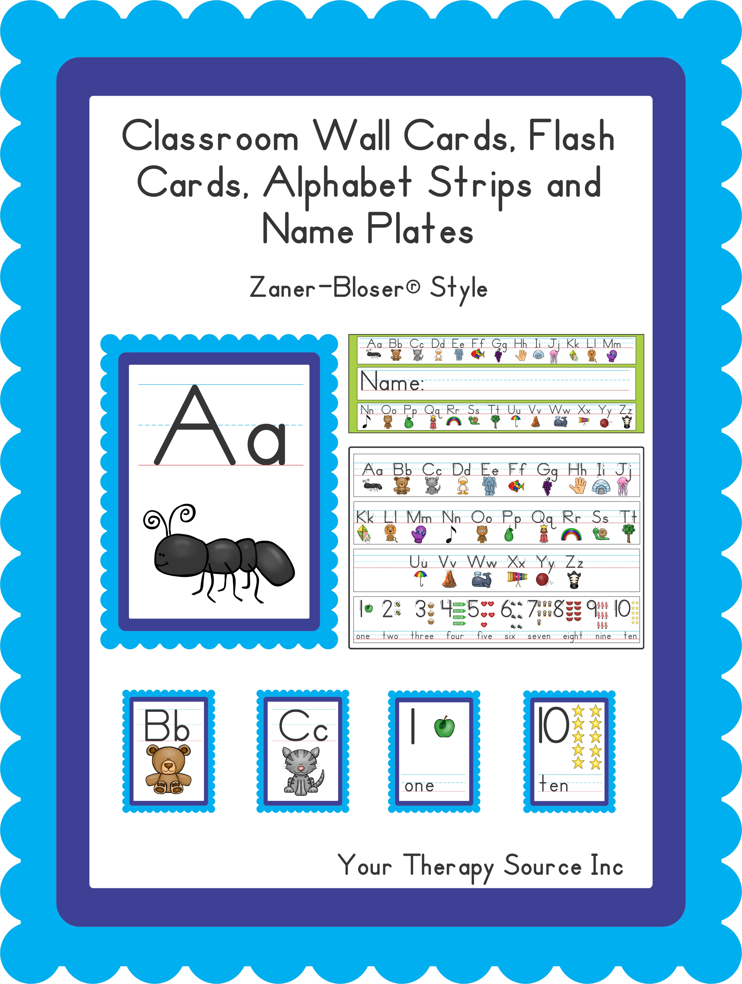 picture about Alphabet Strip Printable referred to as Clroom Wall Playing cards, Flash Playing cards, Alphabet Strips and Status Plates Handwriting devoid of Tears® and Zaner-Bloser® Style and design