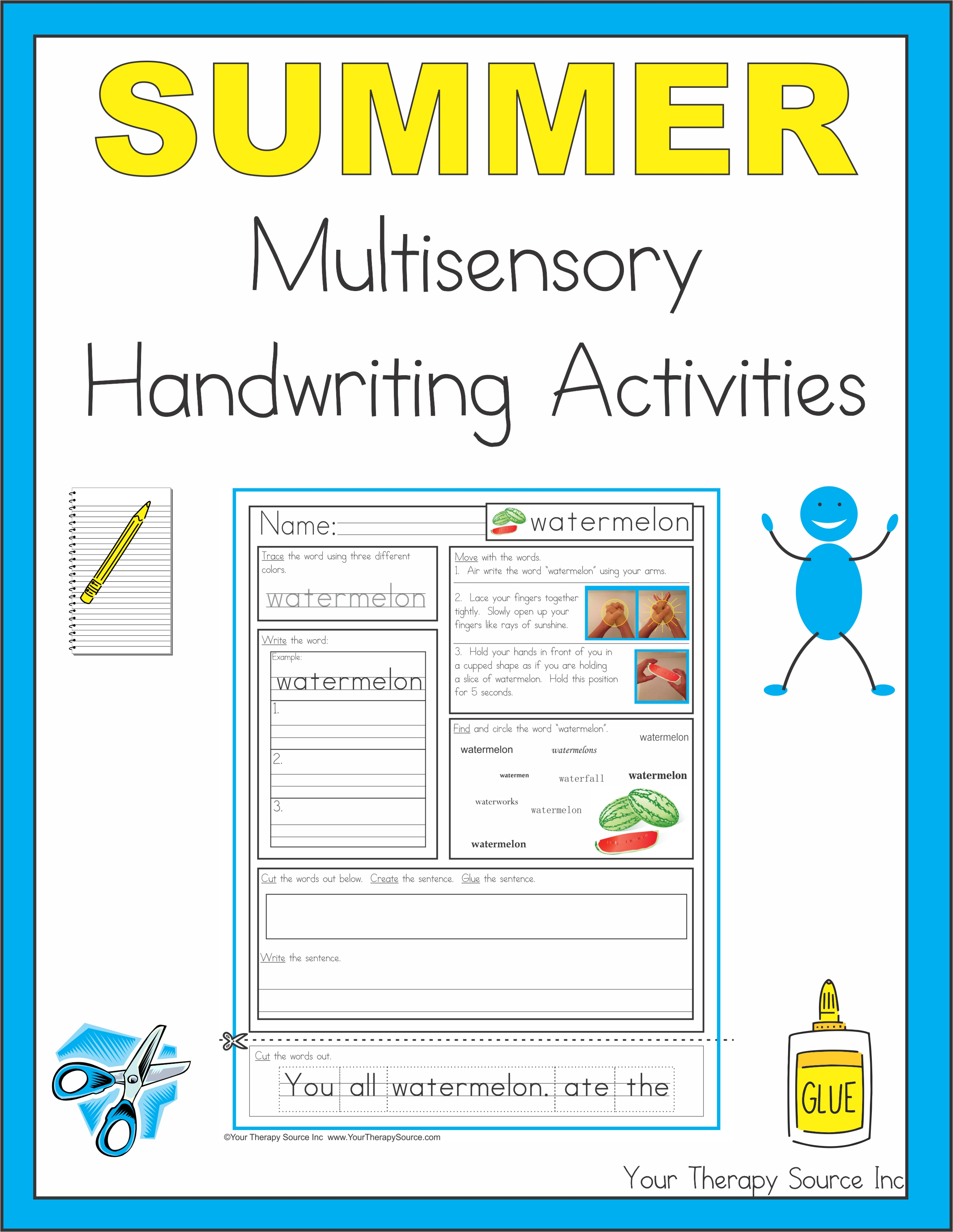 summer multisensory handwriting activities your therapy source. Black Bedroom Furniture Sets. Home Design Ideas
