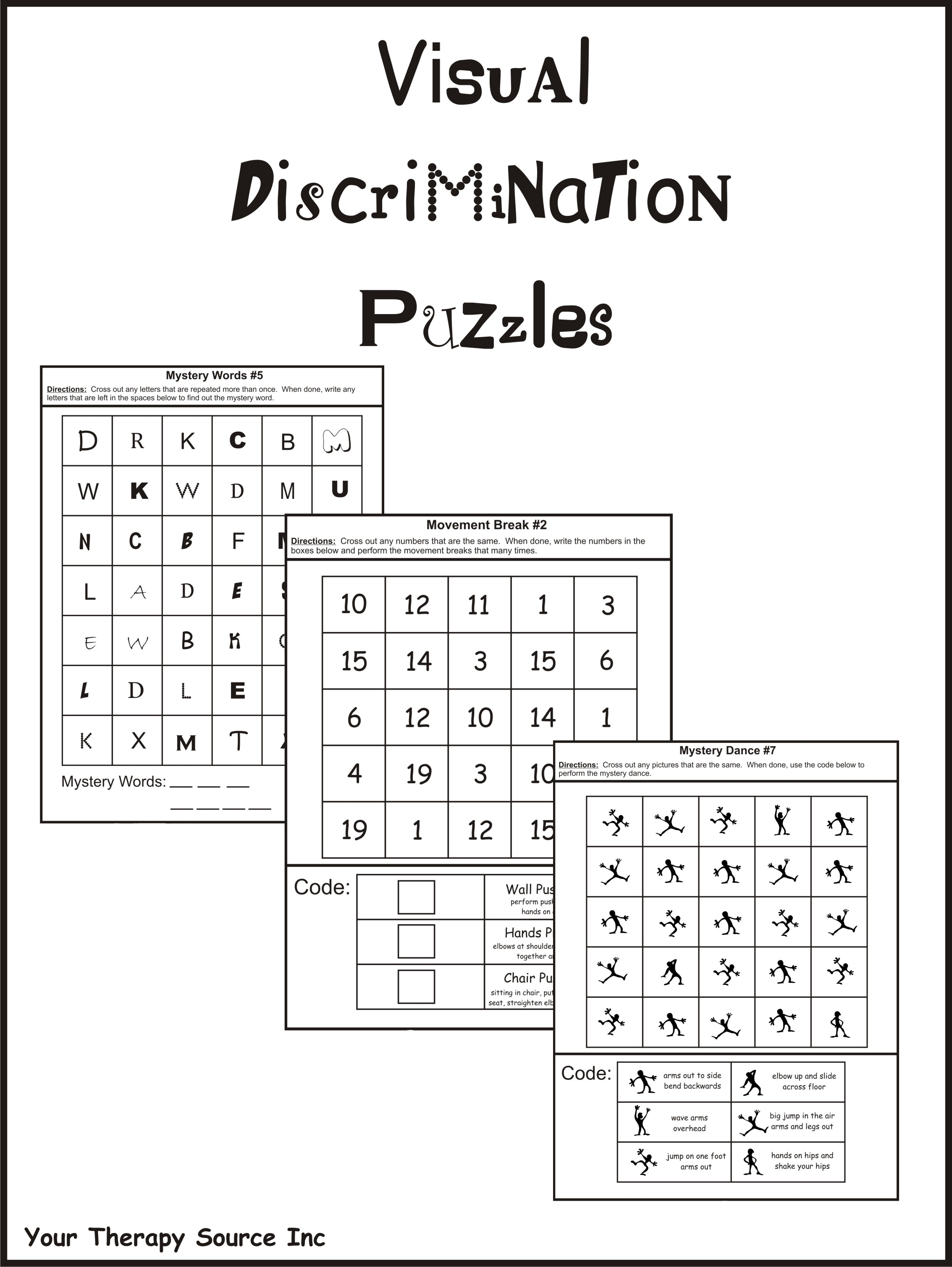 Visual Discrimination Puzzles Your Therapy Source