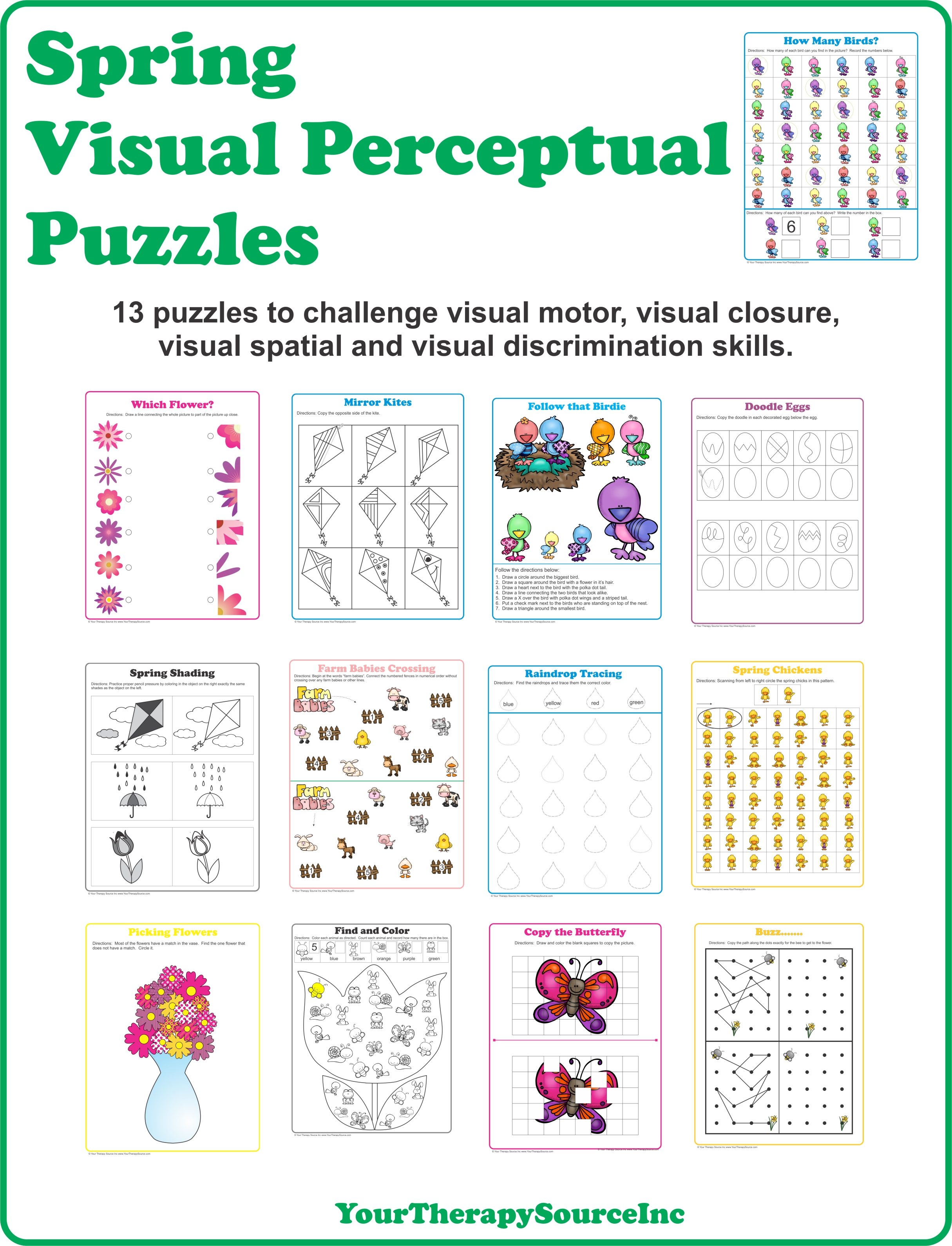 Worksheets Visual Perceptual Skills Worksheets spring visual perceptual puzzles your therapy source puzzles