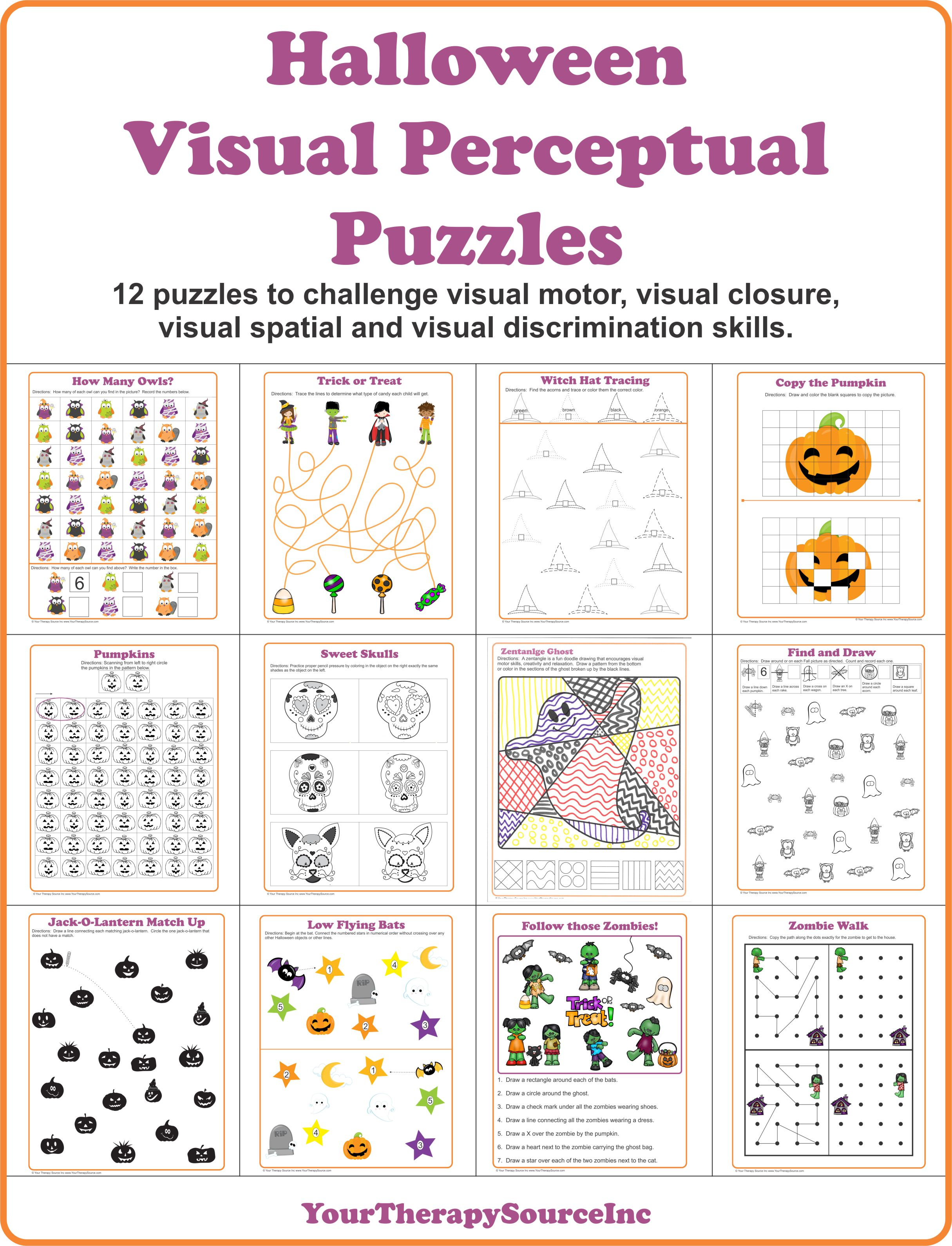 Worksheets Visual Perceptual Skills Worksheets halloween visual perceptual puzzles your therapy source