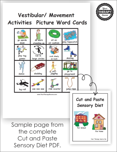 Cut and Paste Sensory Diet Download of the materials to create 2 sensory diet books, one for home and one for school with over 150 picture word cards.