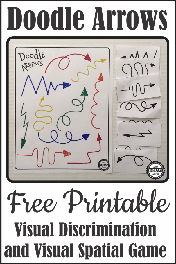 This Doodle Arrow freebie is a fun visual discrimination game that also challenges visual spatial, and visual motor skills. You can download it for FREE at the bottom of the post.
