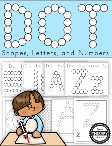 This Do a Dot Printable Alphabet, Numbers, Lines and Shapes digital download has been updated in 2020 to include 86 black and white pages of prewriting fun!