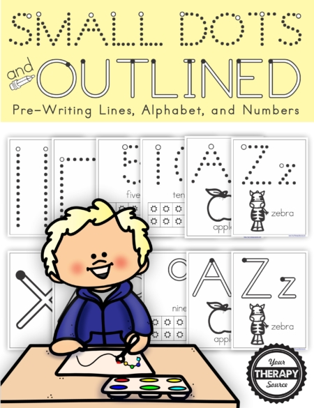 The Q-Tip Painting Printables - Prewriting, Alphabet, and Numbers digital download has been updated in 2020 to include 99 pages for children to use Q-tips, push pins, or mini stickers to create pre-writing shapes, upper and lower case letters, and numbers.