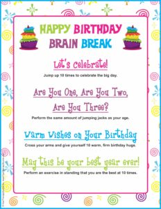 Happy Birthday Brain Break from Your Therapy Source