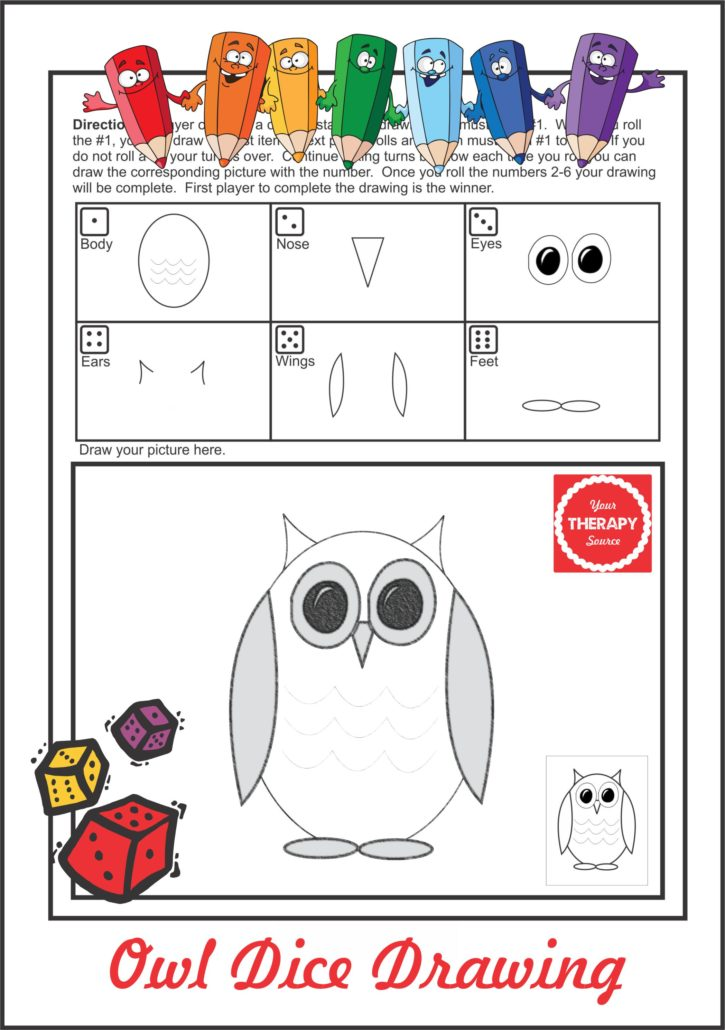 Download the free sample Owl Dice Drawing activity