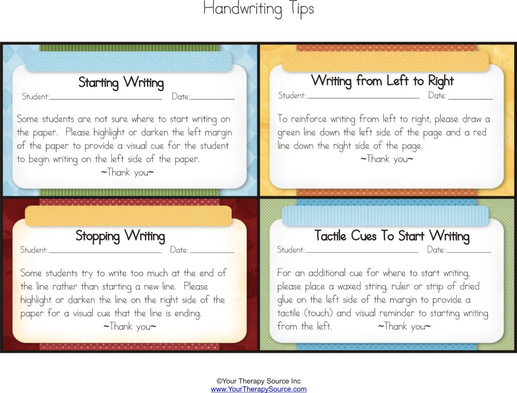 4 Sample OTR: Handwriting, Organization and Scissor Skills