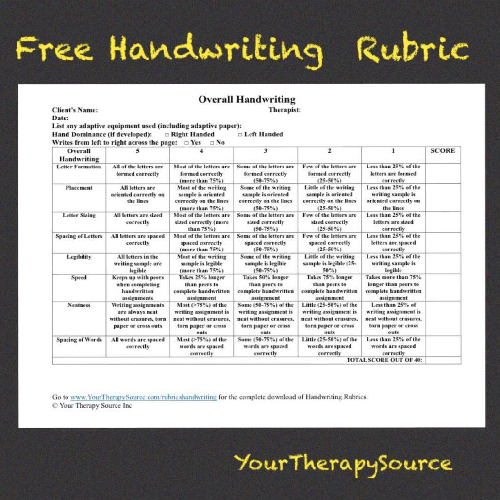 free handwriting rubrics