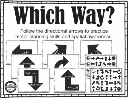 Which Way? includes 16 directional arrow pages (large and small size) plus 6 boards to follow. The activities are available in varying degrees of difficulty. Children will practice moving right, left, diagonally, forwards, backwards, clockwise, down and up. Practice motor planning skills, visually scanning from right to left, understanding prepositional phrases and spatial awareness with this movement activity.
