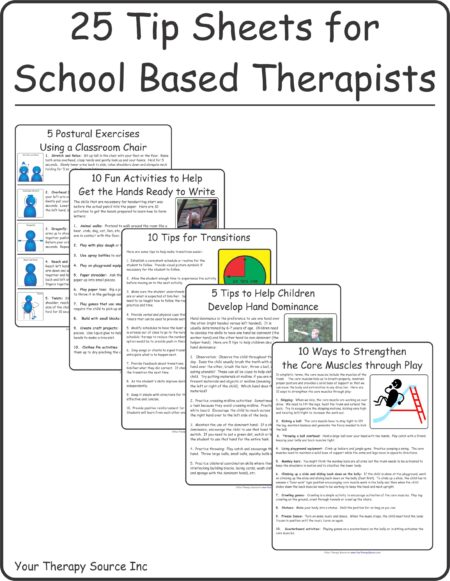 25 Tip Sheets for School Based Therapists