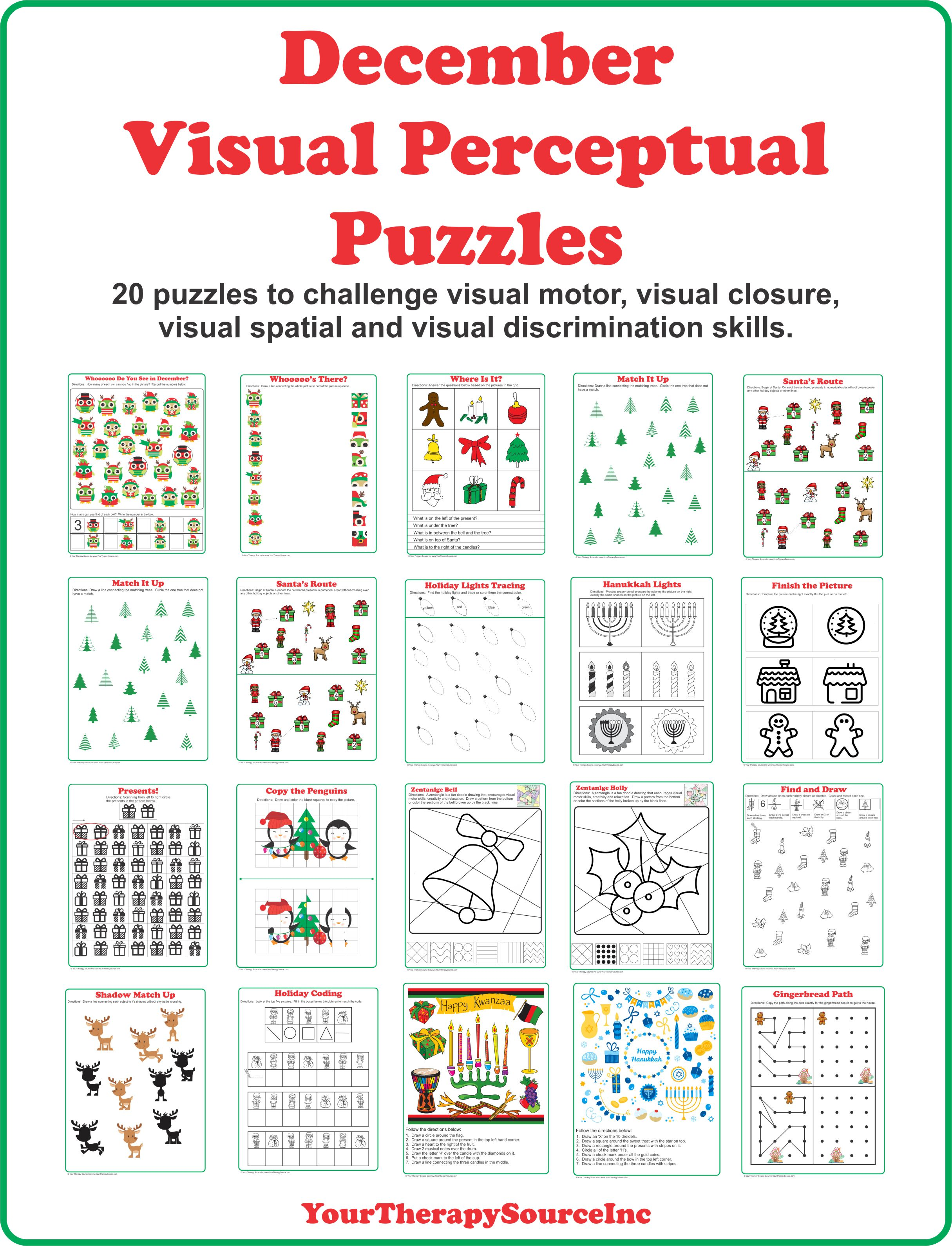 Worksheets Visual Perceptual Skills Worksheets december visual perceptual puzzles your therapy source