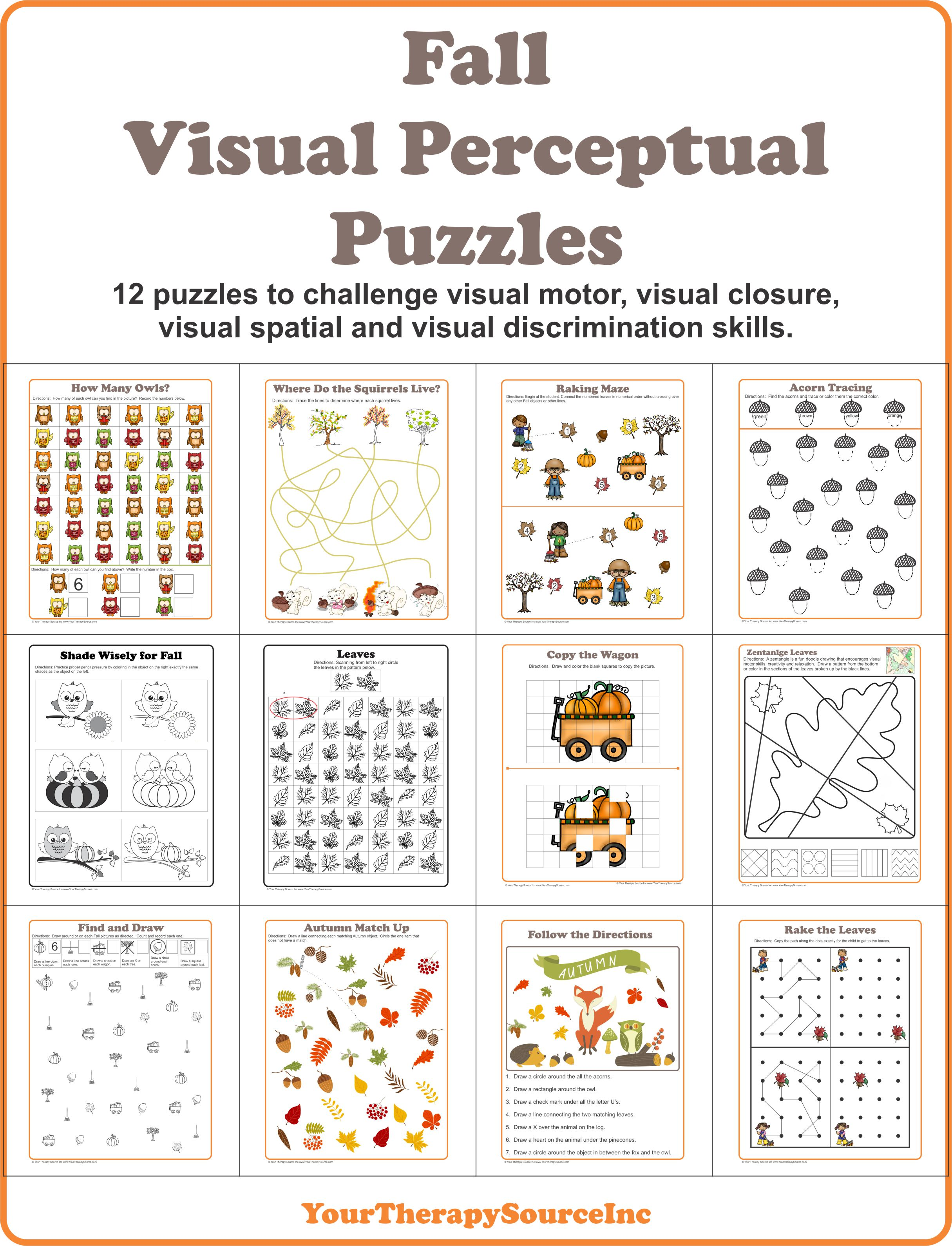 Fall Visual Perceptual Puzzles Your Therapy Source