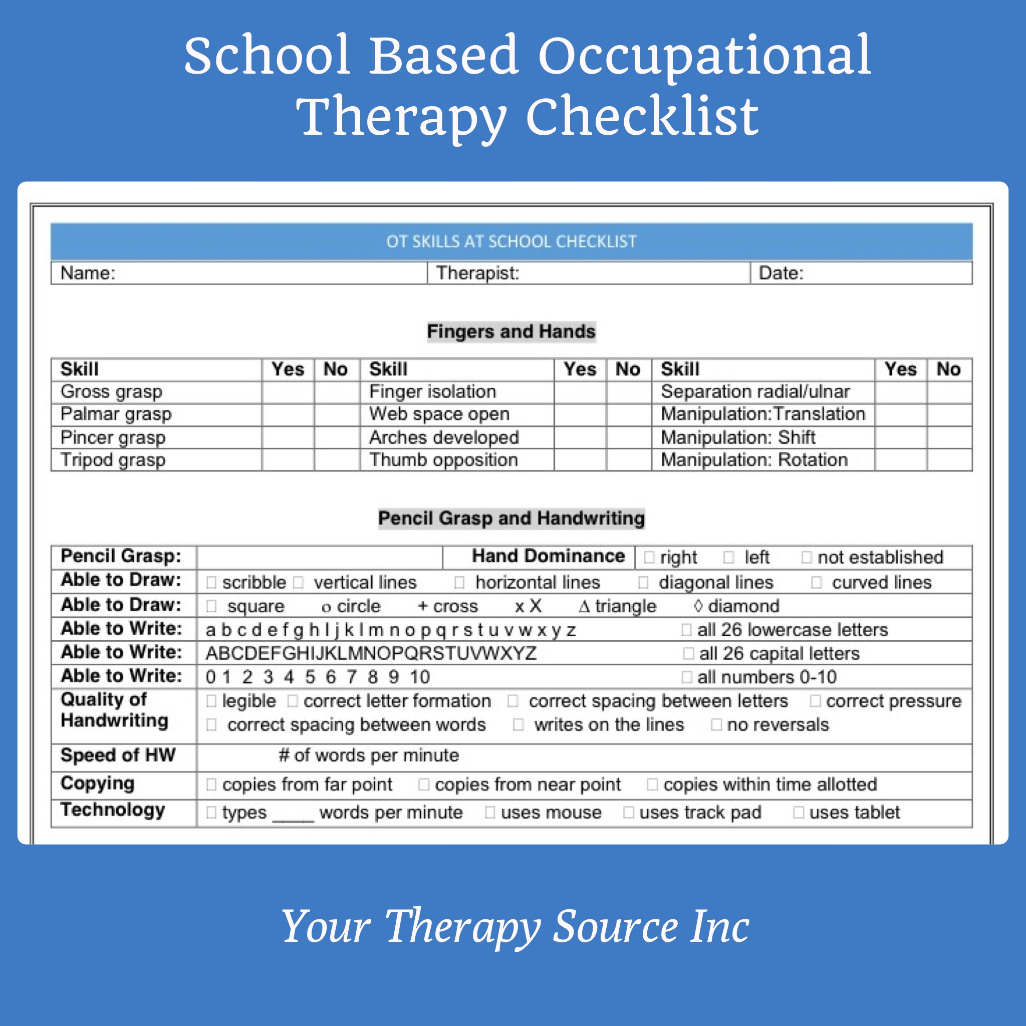 School Based Occupational Therapy Screening Form Checklist Your