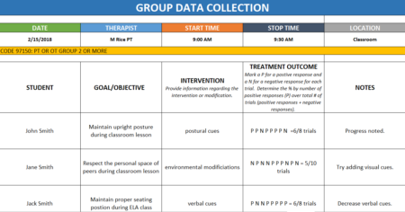 Data Tracking Forms for School-BasedOccupational and Physical Therapy