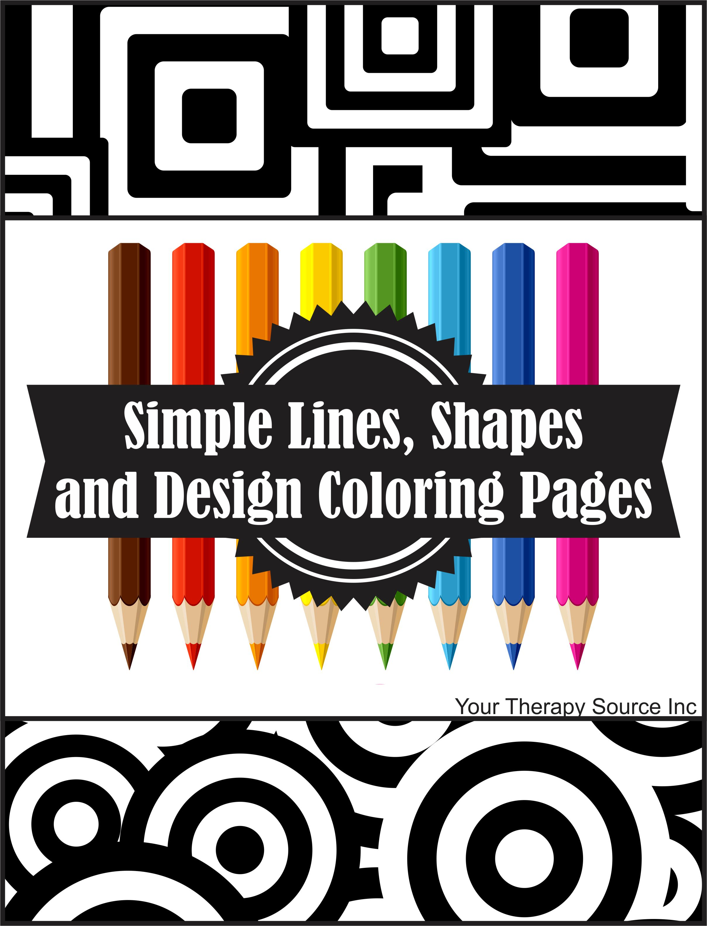 Simple Lines, Shapes and Design Coloring Pages - Your Therapy Source