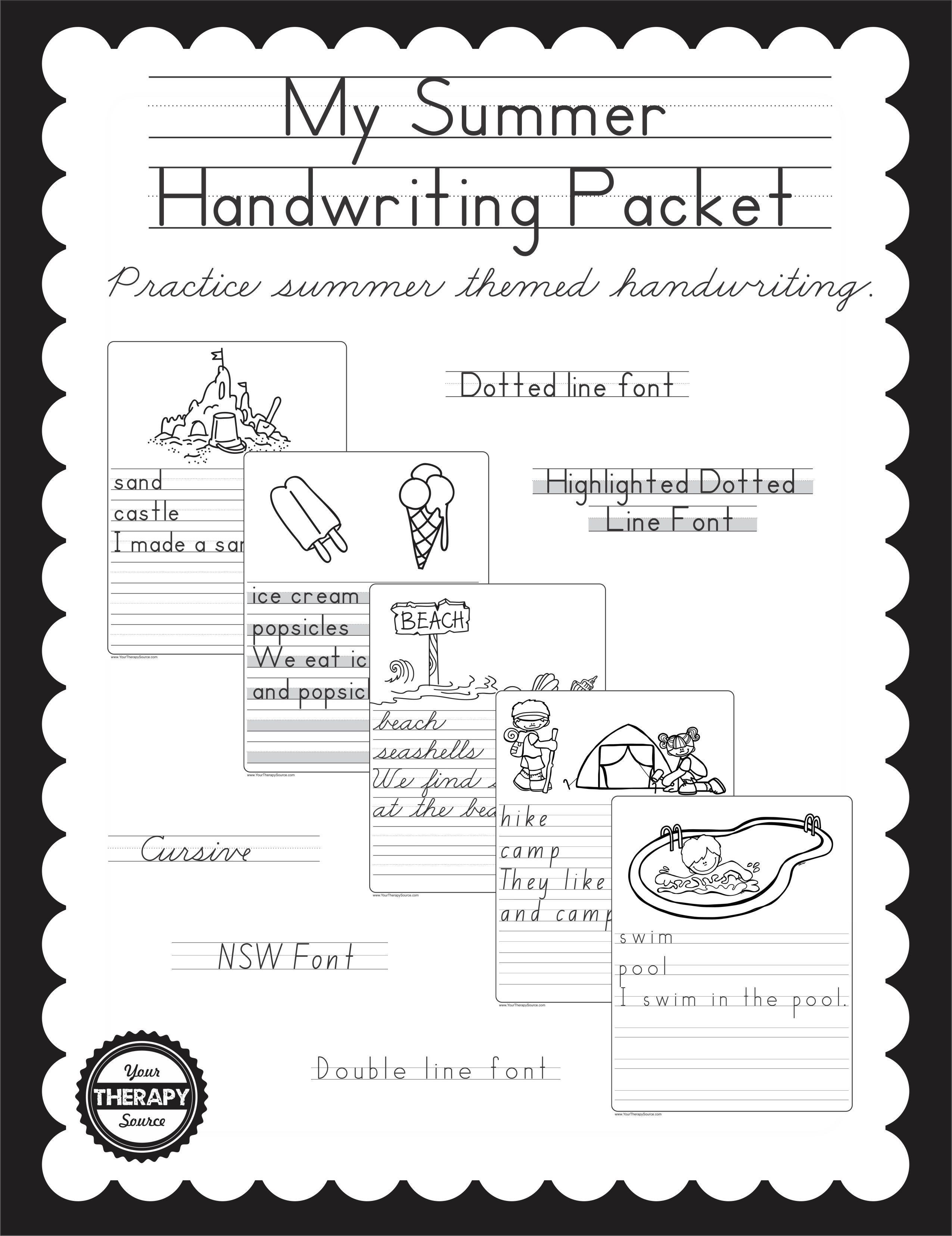 My summer handwriting packet your therapy source fandeluxe Image collections