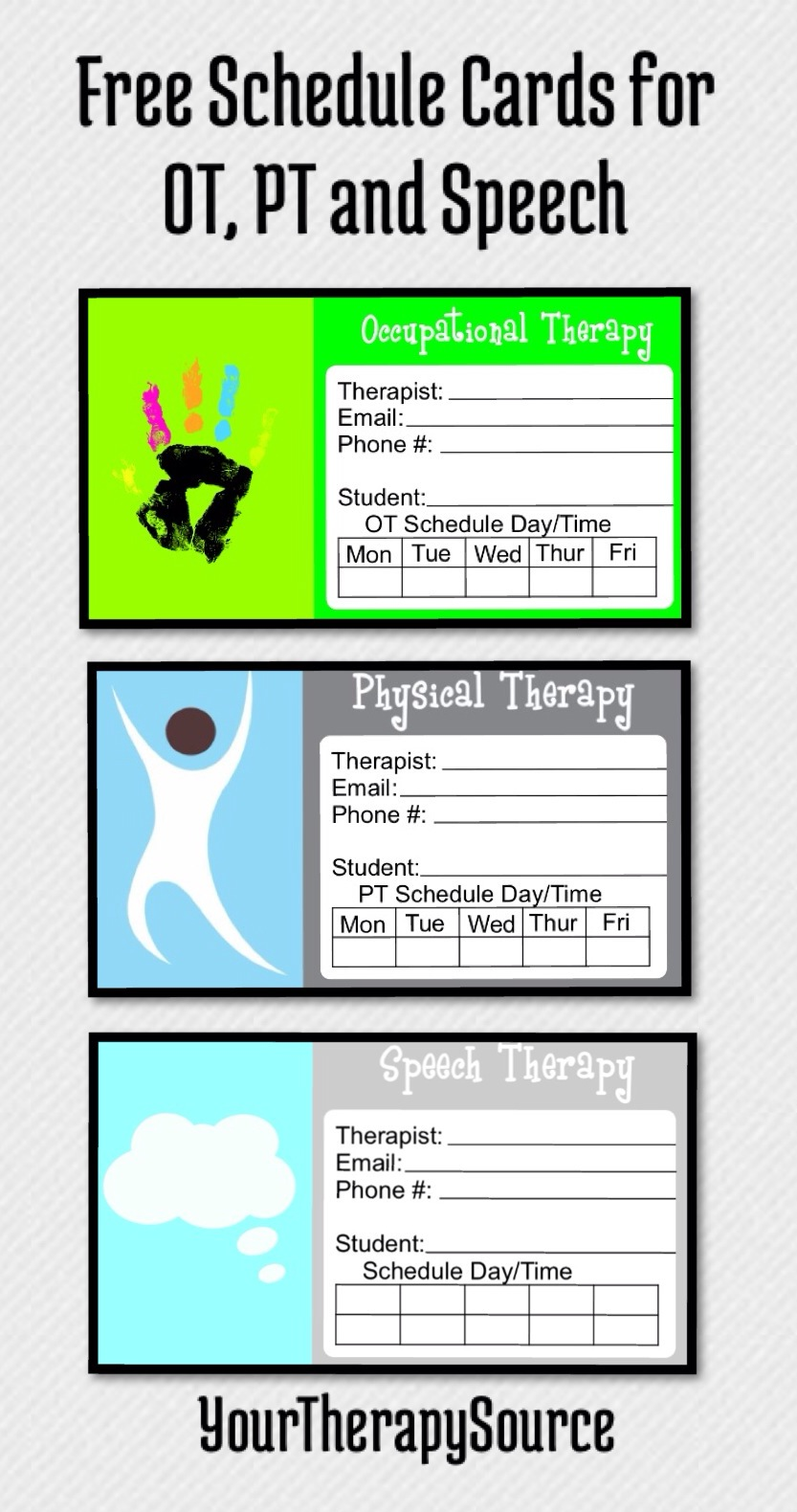 scheduling cards for ot and pt