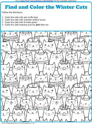 Find And Color The Winter Cats Your Therapy Source