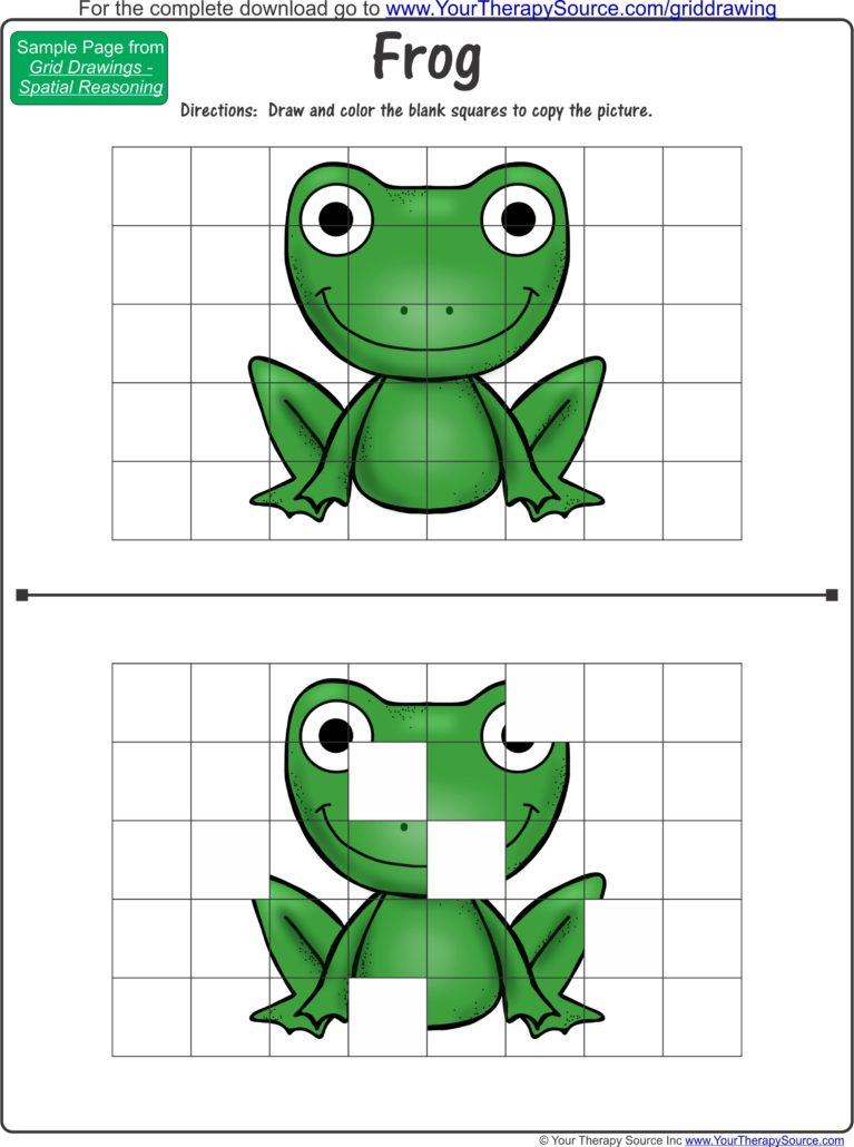 grid drawing color frog your therapy source