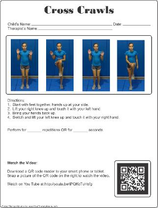 Cross Crawls Exercise Sheet With Qr Code Your Therapy Source
