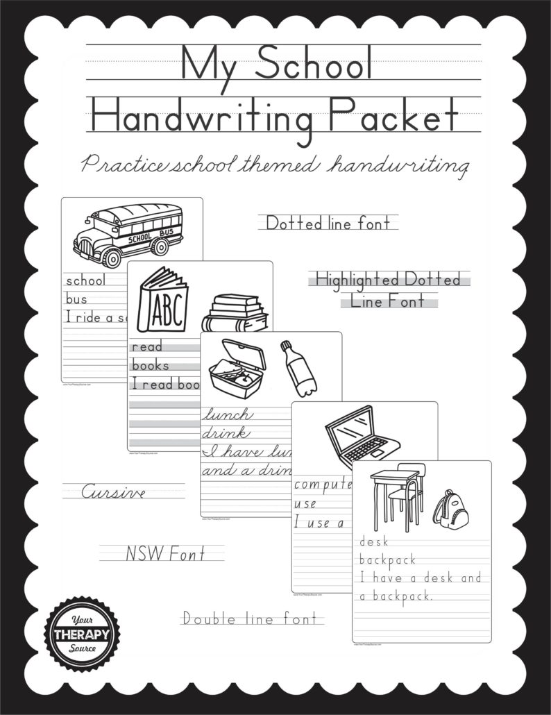 My School Handwriting Book Cover