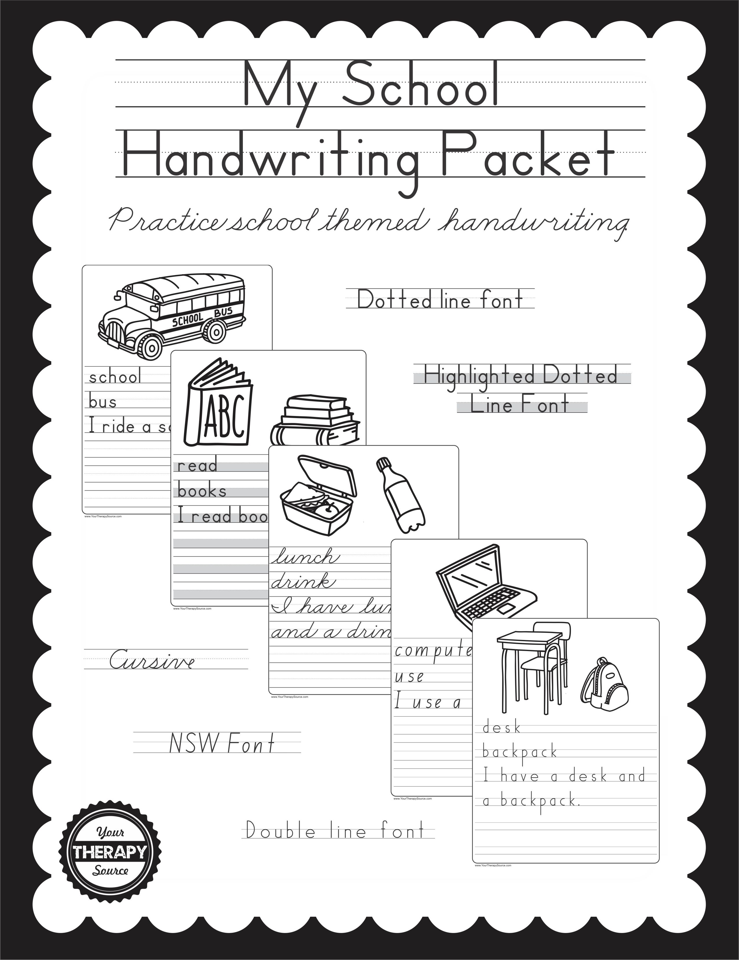My school handwriting packet your therapy source subscribe to our newsletter fandeluxe Choice Image