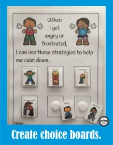 Calming Strategies Suggested Uses Choice Boards