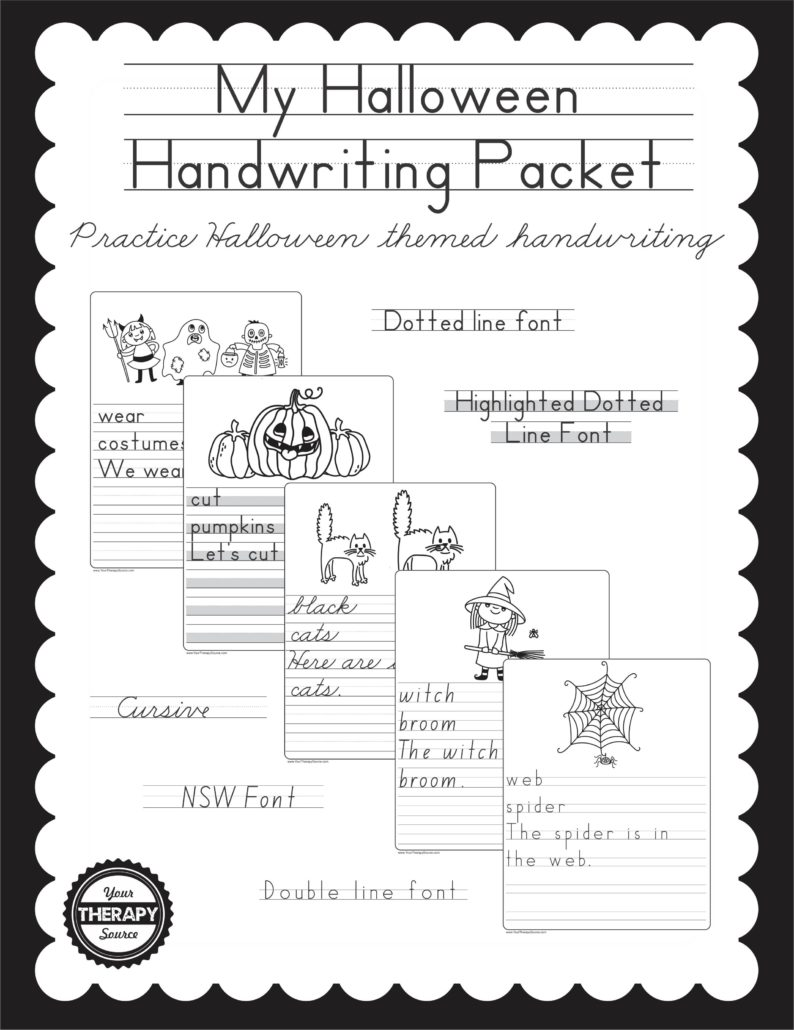 my halloween handwriting packet your therapy source. Black Bedroom Furniture Sets. Home Design Ideas