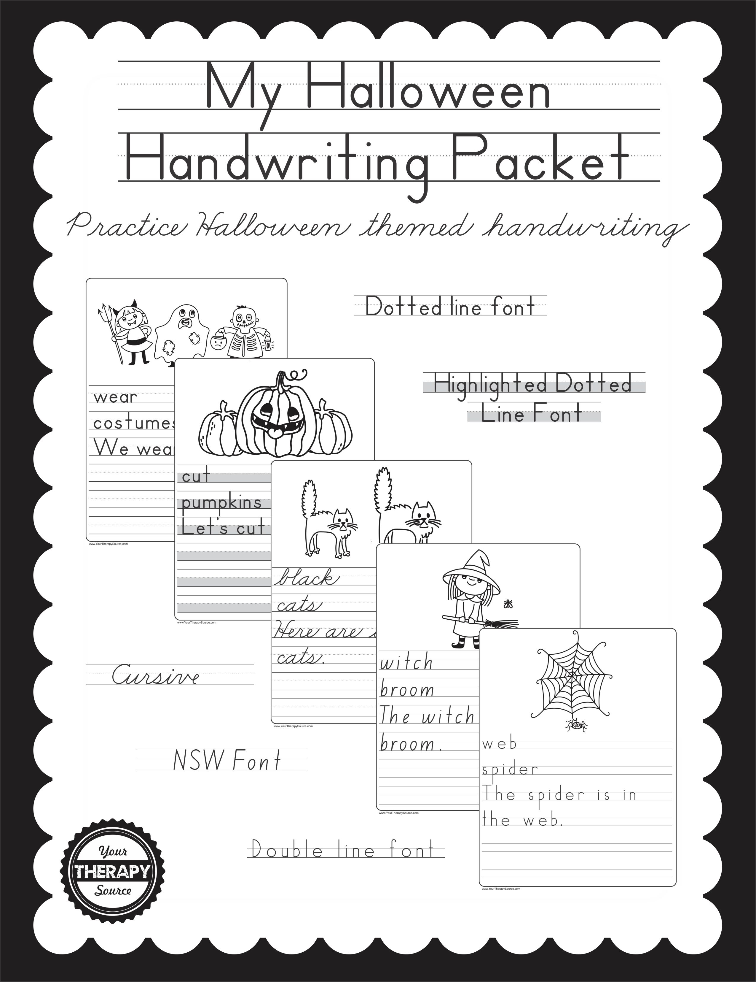 my halloween handwriting packet your therapy source - Halloween Writing Font