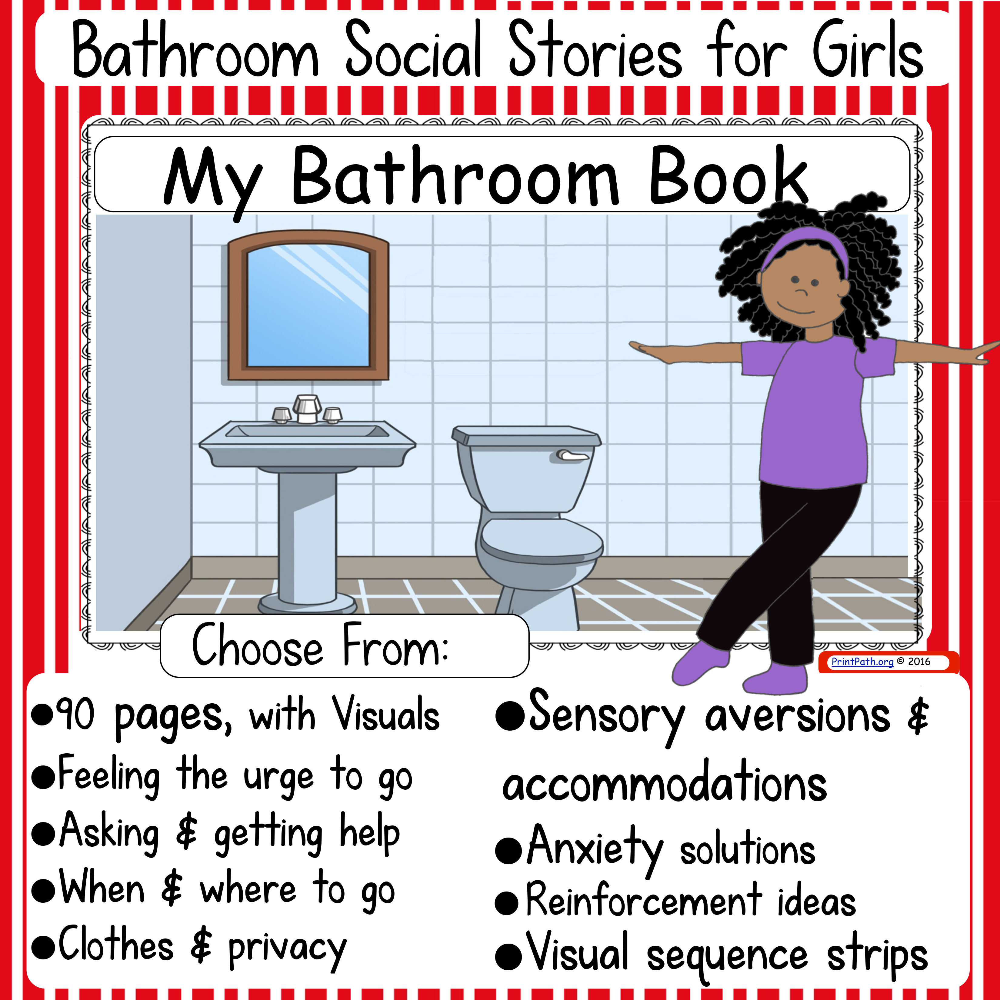 Bathroom social stories boys or girls your therapy source for Using the bathroom social story