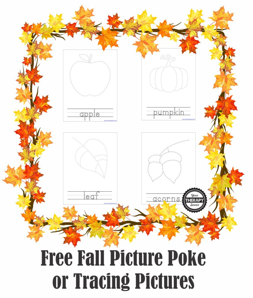 Fall Picture Pokes Fine and Visual Motor Activity - FREE