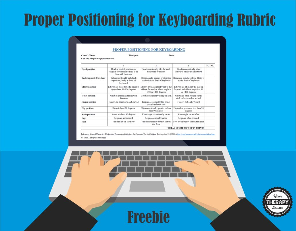 Proper Positioning for Keyboarding Freebie from Your Therapy Source