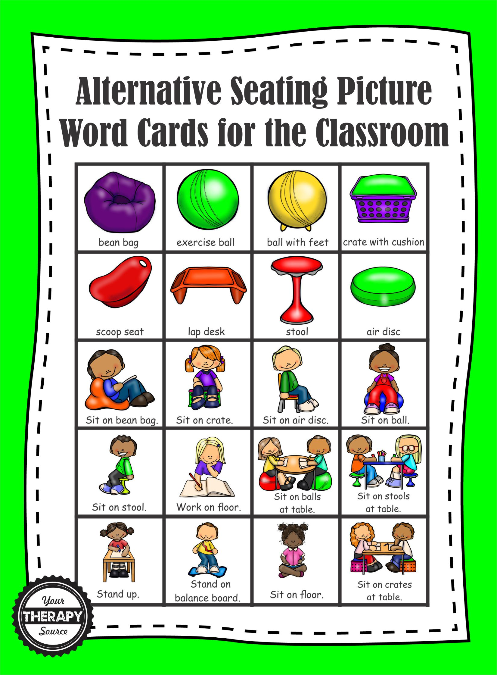 20 Alternative Seating Picture Word Cards Your Therapy Source