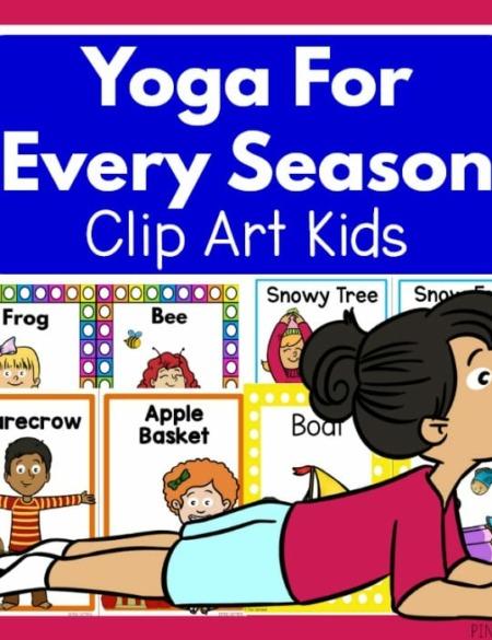 Yoga for Every Season includes four PDF digital documents for Winter Yoga, Spring Yoga, Summer Yoga, and Fall Yoga for children.