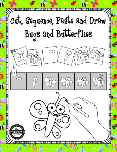 Cut, Sequence, Paste and Draw Bugs and Butterflies