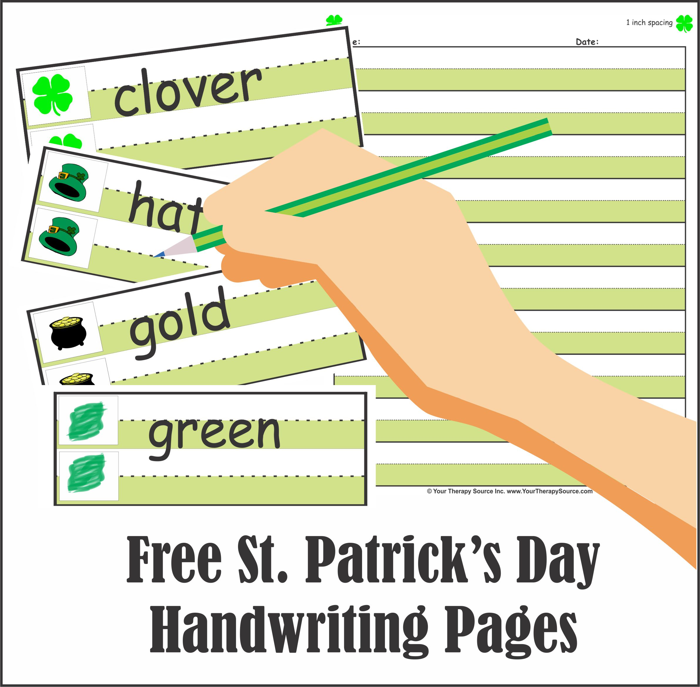 Free St. Patrick's Day Handwriting Pages
