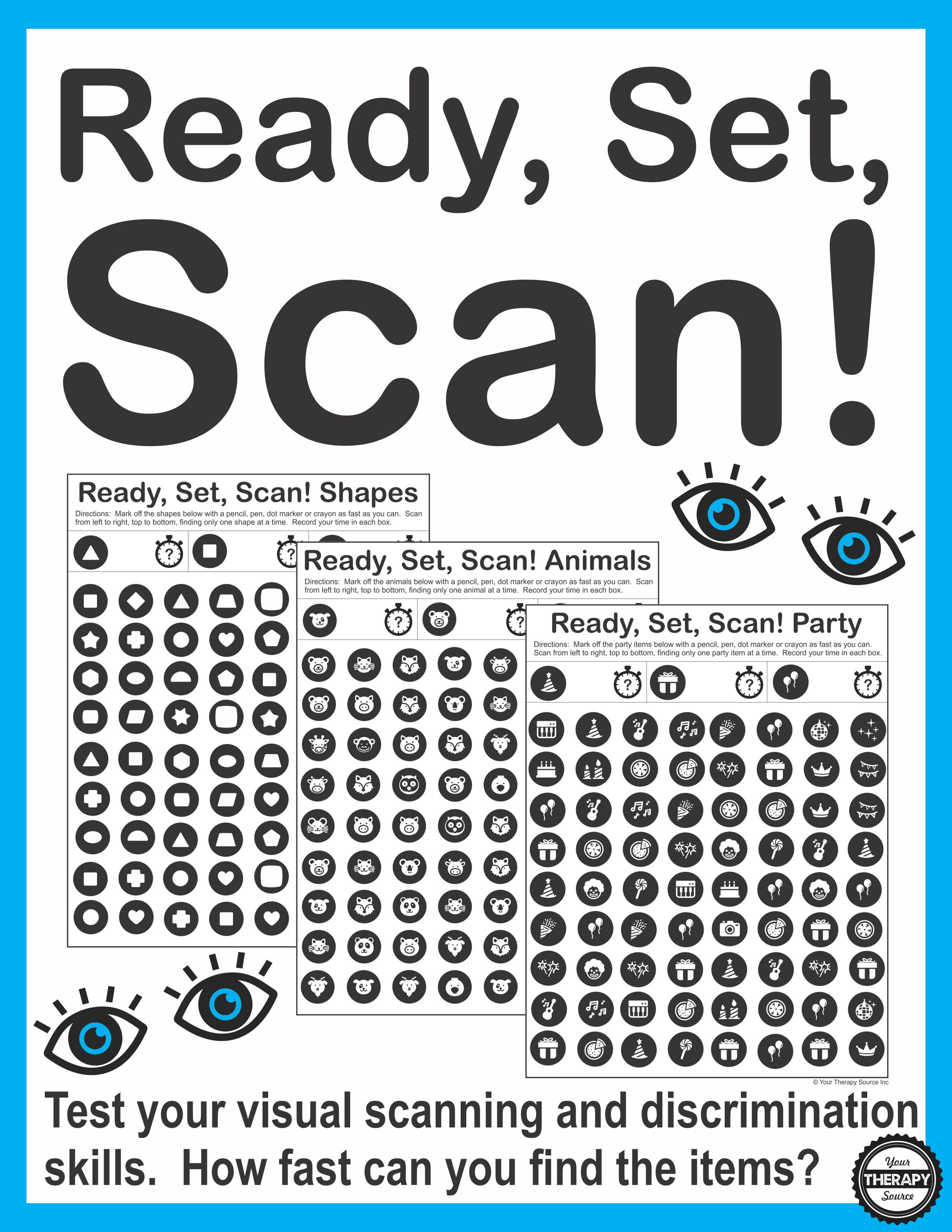 worksheet Visual Scanning Worksheets ready set scan visual scanning and discrimination activity your therapy source