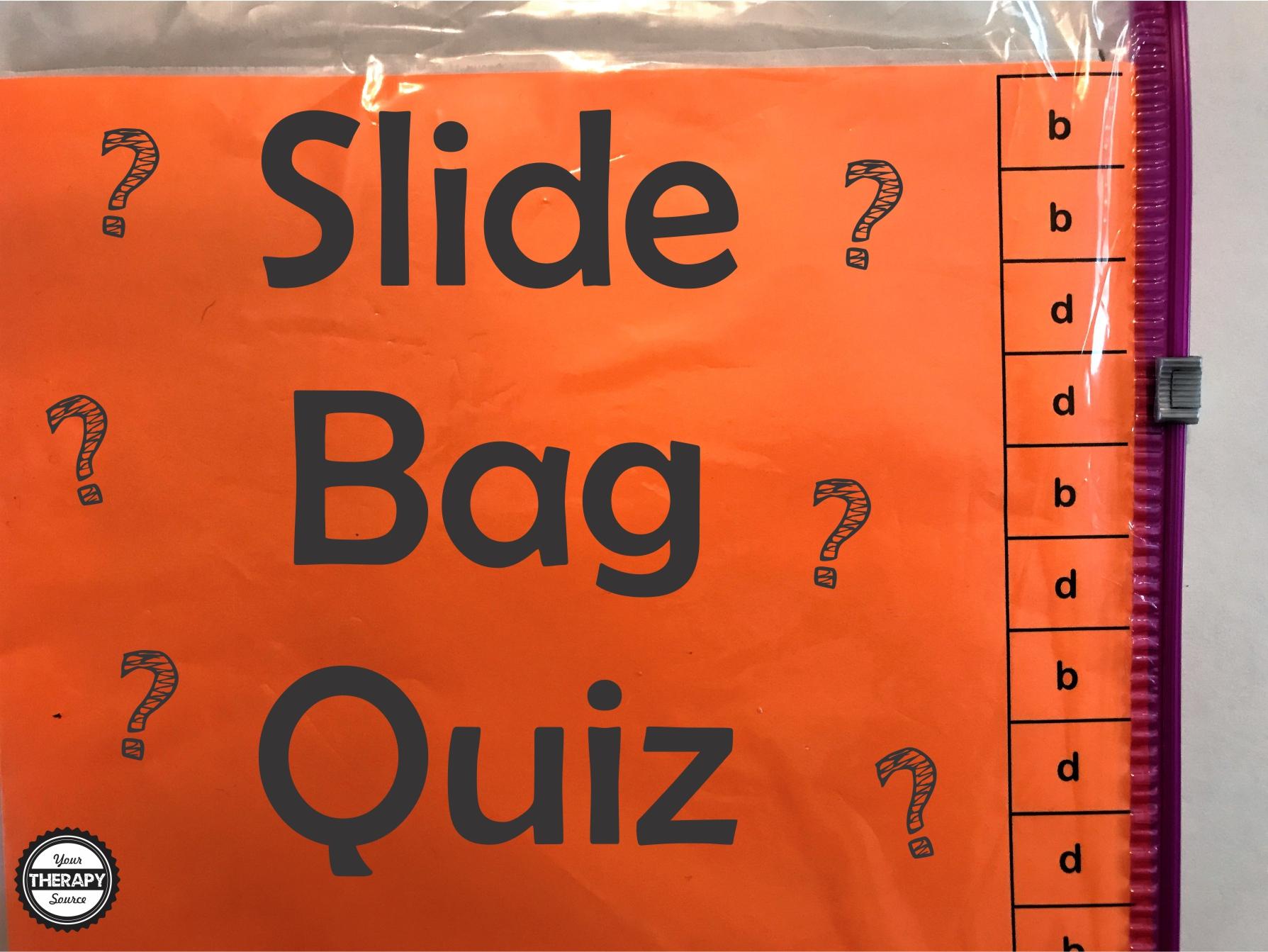 Slide Bag Quiz - Fine Motor and Bimanual Skills