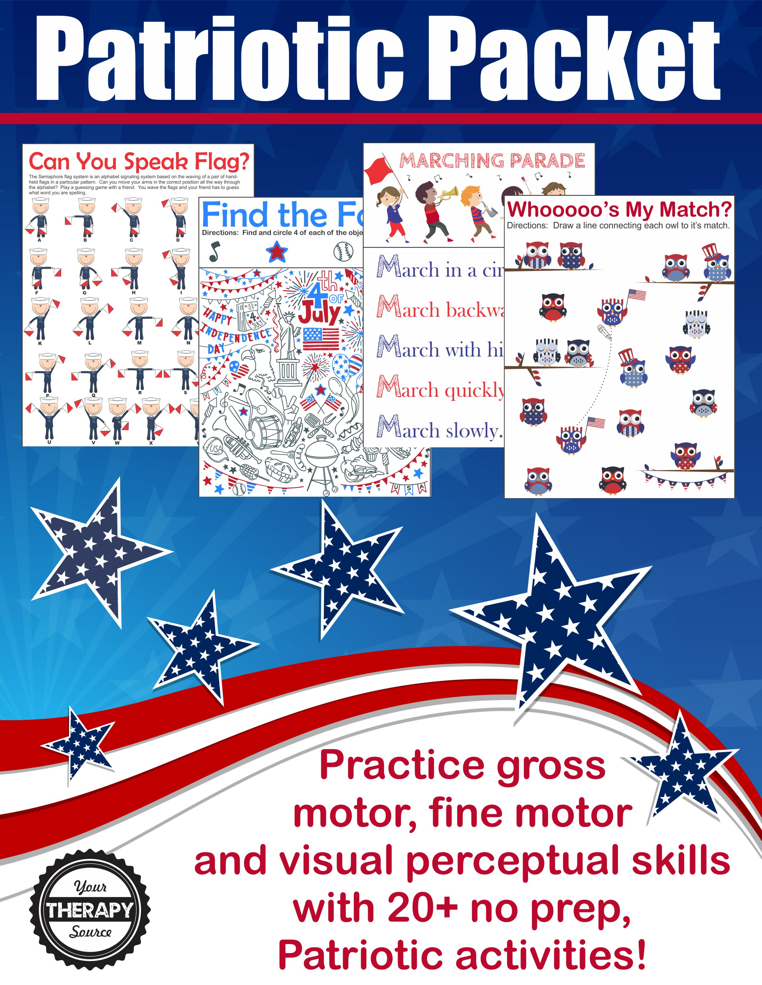Patriotic Sensory Motor Packet Memorial Day Flag Day July 4th