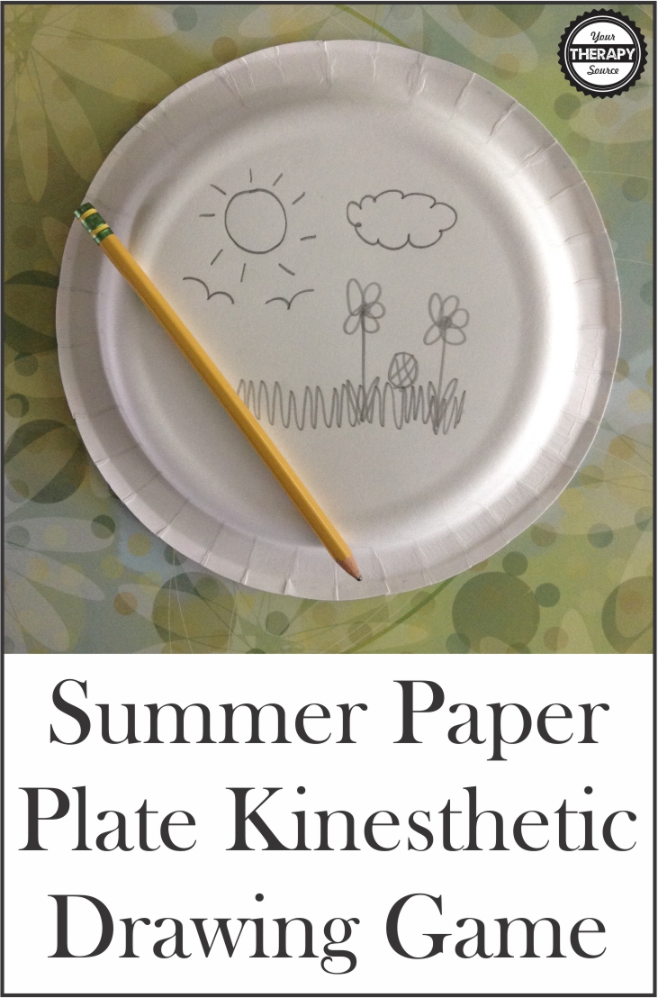 This Summer paper plate  drawing game is a super fun, kinesthetic, easy activity for a group. Work on visual-spatial skills, visual motor skills, and body awareness.