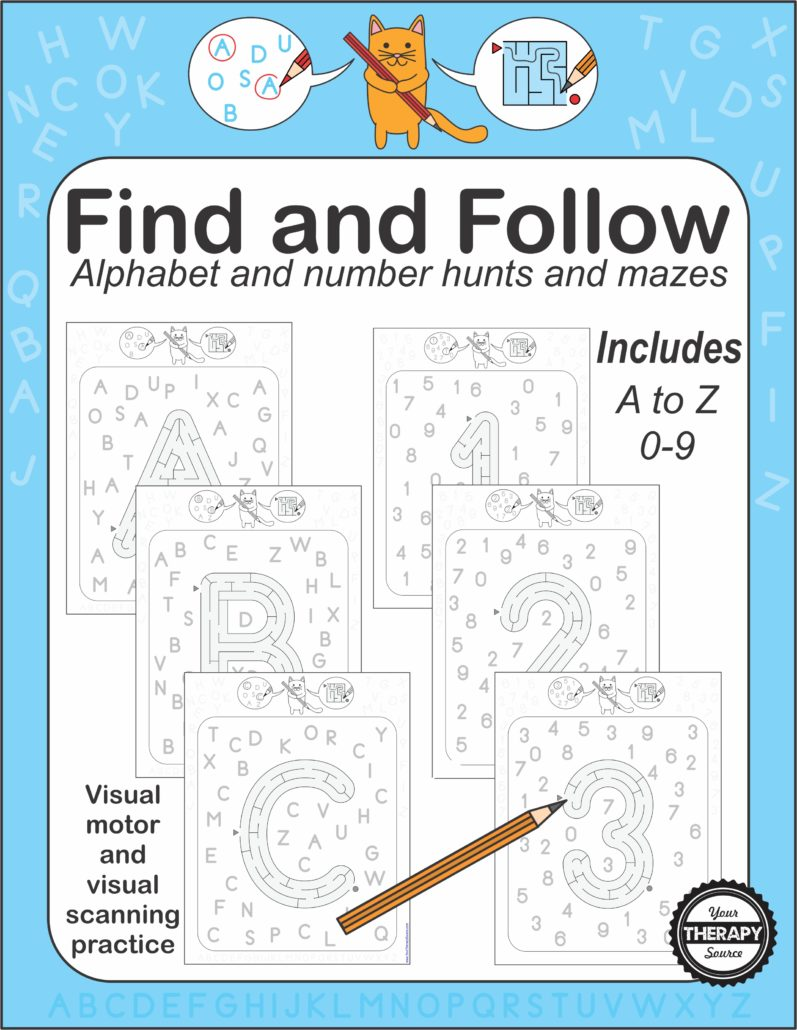 Find and Follow Alphabet Numbers hunts and mazes